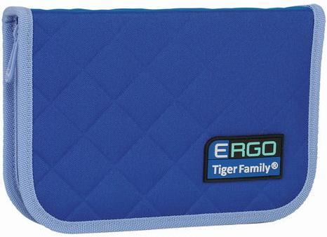 Пенал TIGER FAMILY (ТАЙГЕР) 1 отделение, 2 откидные планки, синий-голубой, 20х14х4 см, TGRW-007C1E пенал односекционный tiger family joyful birdie цвет синий c36873