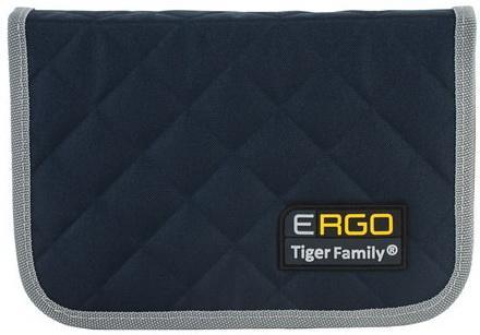 Пенал TIGER FAMILY (ТАЙГЕР) 1 отделение, 2 откидные планки, черный-серый, 20х14х4 см, TGRW-008C1E