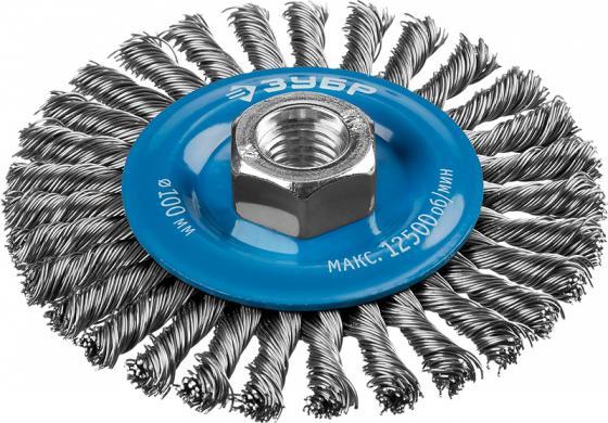 """цена ЗУБР """"ПРОФЕССИОНАЛ"""". Щетка дисковая для УШМ, плетеные пучки стальной проволоки 0,5мм, 100ммхМ14 онлайн в 2017 году"""