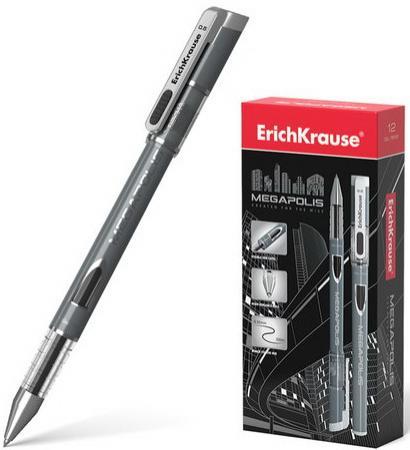 Фото - Ручка гелевая ERICH KRAUSE Megapolis Gel, корпус с печатью, узел 0,5 мм, линия 0,4 мм, черная, 93 ручка гелевая erich krause g soft черная