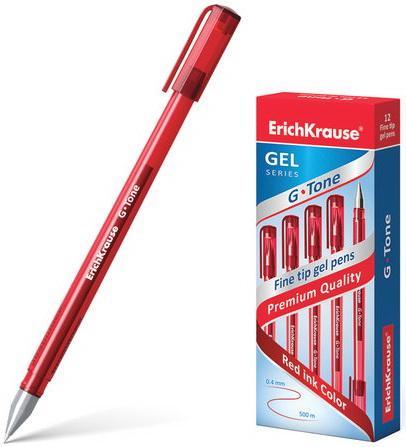 Ручка гелевая ERICH KRAUSE G-Tone, корпус тонированный красный, узел 0,5 мм, линия 0,4 мм, красная, 17811 гелевая ручка erich krause g base красный 0 5 мм 30937