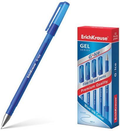 Ручка гелевая ERICH KRAUSE G-Ice, корпус прозрачный, игольчатый узел 0,5 мм, линия 0,4 мм, синяя, 39003 ручка гелевая erich krause g point игольчатый узел 0 38 мм линия письма 0 25 мм синяя