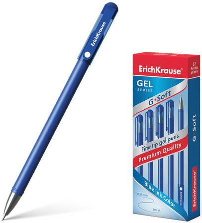 Ручка гелевая ERICH KRAUSE G-Soft, корпус soft-touch, игольчатый узел 0,38 мм, линия 0,25 мм, синяя, 39206 ластик erich krause art line extra soft