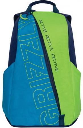 Рюкзак GRIZZLY универсальный, синий\\салатовый, Актив, 29х43х14 см, RQ-910-1/1 рюкзак grizzly rq 912 1 1 black