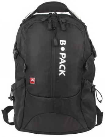 Рюкзак B-PACK S-02 (БИ-ПАК) универсальный, с отделением для ноутбука, усиленная ручка, черный, 47х31х16 см, 226948