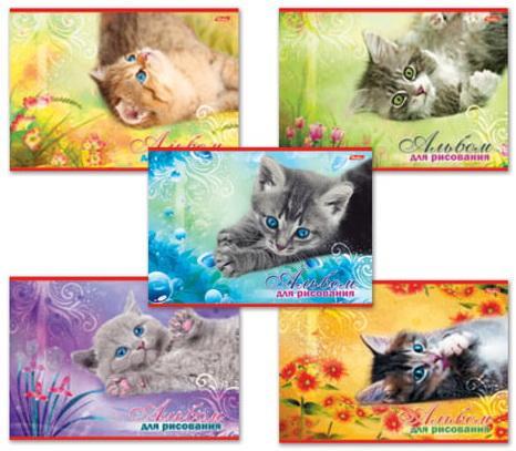"""Альбом для рисования, А4, 20 л., обложка картон, HATBER """"Котята"""", 20А4В, A17357"""
