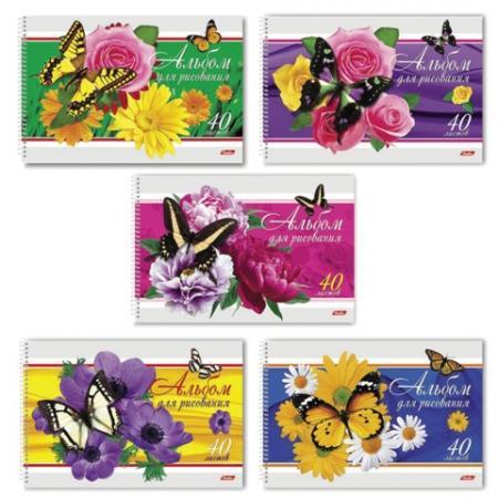 Альбом для рисования Hatber Бабочки с цветами A4 40 листов цена и фото