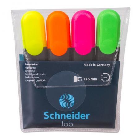 Набор текстмаркеров SCHNEIDER Job 1-5 мм 4 шт желтый зеленый оранжевый розовый стоимость