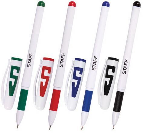 Ручки гелевые STAFF, набор 4 шт., корпус белый, узел 0,5 мм, резиновый упор (синяя, черная, красная, зеленая), 142395 ручки шариковые набор 3шт centrum центрум pioneer черная красная синяя