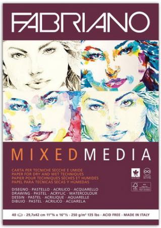 Альбом для рисования FABRIANO Mixed Media мелкое зерно, 40л., 250г/м2, А3, 297х420мм, 19100382 цены онлайн