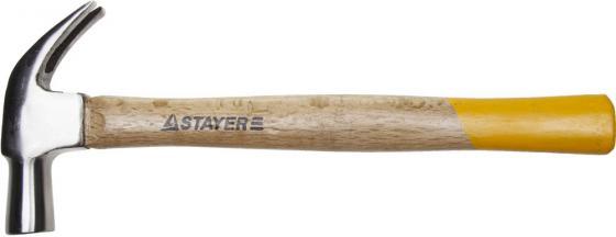 Молоток-гвоздодер STAYER STANDARD TopStrike кованый, с деревянной ручкой, 450г молоток гвоздодер jcb 450г jhm003