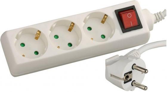 Удлинитель СВЕТОЗАР электрический с заземлением, выключателем, евро, с защитными шторками, 3 гнезда, 3м звонок электрический с кнопкой светозар аккорд 58036
