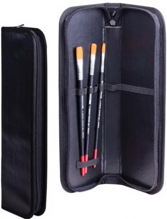 Пенал-тубус для кистей на молнии, размер 270х90 мм, кожзам, черный, ФК-1