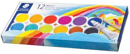 Краски акварельные STAEDTLER (Германия), 12 цветов + белила, с кистью, пластиковая коробка, 888 NC12 printio акварельные краски