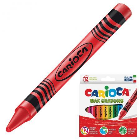 Восковые мелки CARIOCA смываемые 12 штук 12 цветов carioca набор смываемых восковых карандашей baby 8 цветов