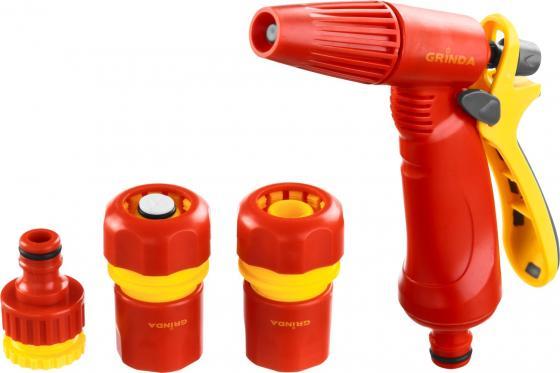 Набор GRINDA поливочный: Распылитель пистолетный с регулируемым соплом, соединитель 1/2, соединитель 1/2 с автостопом, адаптер внешний 1/2-3/4 адаптер 220