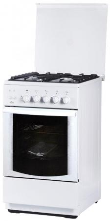 Плита Газовая Flama FG 24228 W белый (стеклянная крышка) реш.чугун