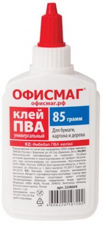 Клей ПВА ОФИСМАГ (бумага, картон, дерево), 85 г, Россия, 224604 клей пва луч 85 грамм