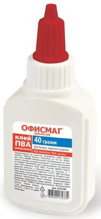Клей ПВА ОФИСМАГ (бумага, картон, дерево), 40 г, Россия, 225760 клей пва луч 85 грамм