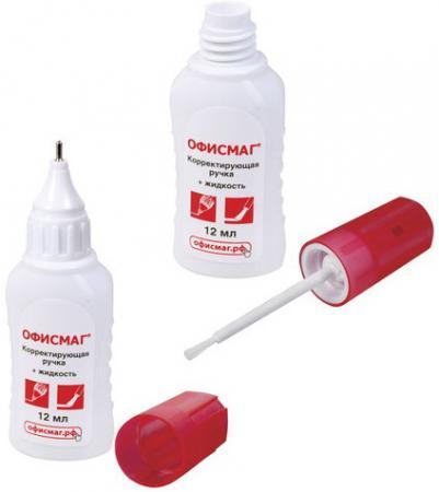 Ручка-корректор + корректирующая жидкость ОФИСМАГ, 12 мл, 2 в 1: металлический наконечник + кисточка, 225218 ручка корректор brauberg 2 в 1 12 мл