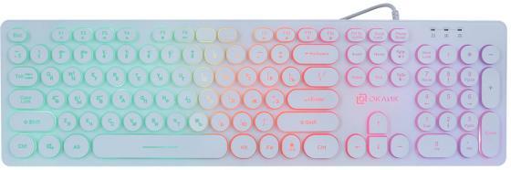 Клавиатура проводная Oklick 420MRL USB белый цена и фото