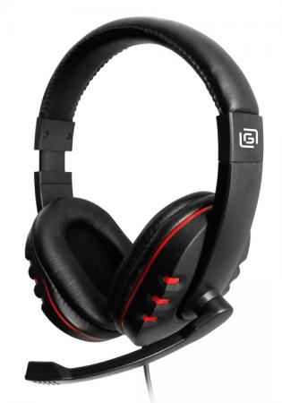 Наушники с микрофоном Oklick HS-L380G черный/красный 1.8м мониторы оголовье (JD-032)