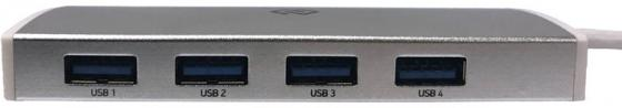 Разветвитель USB Type-C Digma HUB-4U3.0-UC-S 4 х USB 3.0 серебристый пассажиры левин ecola расширение usb кабель разветвитель 4 usb2 0 hub концентратор usb hub09 перец