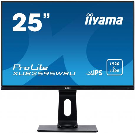 Монитор 25 iiYama ProLite XUB2595WSU-B1 черный IPS 1920x1200 300 cd/m^2 4 ms HDMI DisplayPort VGA Аудио USB монитор 23 iiyama prolite xub2390hs b1 черный ah ips 1920x1080 250 cd m^2 5 ms аудио dvi hdmi vga