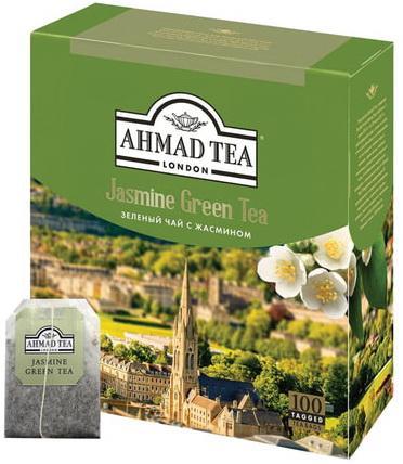 """цена на Чай AHMAD (Ахмад) """"Jasmine Green Tea"""", зелёный с жасмином, 100 пакетиков по 2 г, 475-012"""