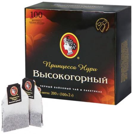 """Чай ПРИНЦЕССА НУРИ """"Высокогорный"""", черный, 100 пакетиков по 2 г, 0201-18-А6 цена и фото"""