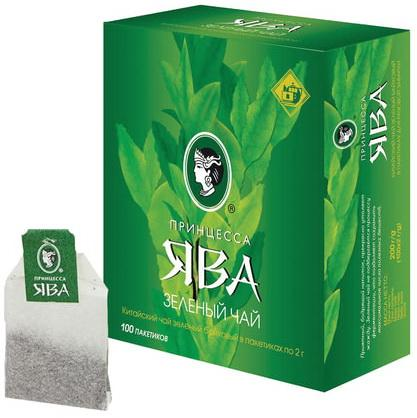 Чай ПРИНЦЕССА ЯВА, зеленый, 100 пакетиков с ярлычками по 2 г, 0880-18 запчасти ява харьков
