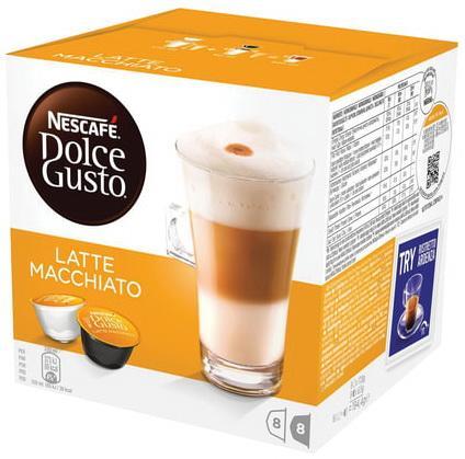 Капсулы для кофемашин NESCAFE Dolce Gusto Latte Machiato, натуральный кофе 8 шт. х 6,5 г, молочная капсула 8 шт. х 17,8 г, 5219838 цена