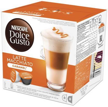 Капсулы для кофемашин NESCAFE Dolce Gusto Латте Макиато Карамель, кофе 8 шт. х 6 г, молочные капсулы 8 шт. х 15 г, 12136960 цена