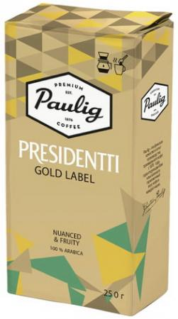 Кофе молотый PAULIG (Паулиг) Presidentti Gold Lable, натуральный, 250 г, вакуумная упаковка, 16976 кофе paulig classic молотый 250г
