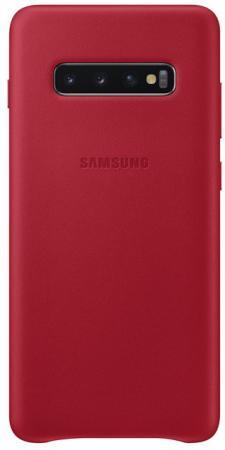 Чехол (клип-кейс) Samsung для Samsung Galaxy S10+ Leather Cover красный (EF-VG975LREGRU) чехол клип кейс samsung для samsung galaxy s10 leather cover темно синий ef vg975lnegru