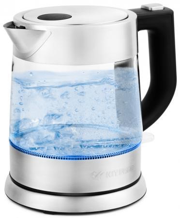 Чайник электрический KITFORT КТ-647 2200 Вт серебристый 1 л металл/стекло чайник электрический element el kettle 2200 w