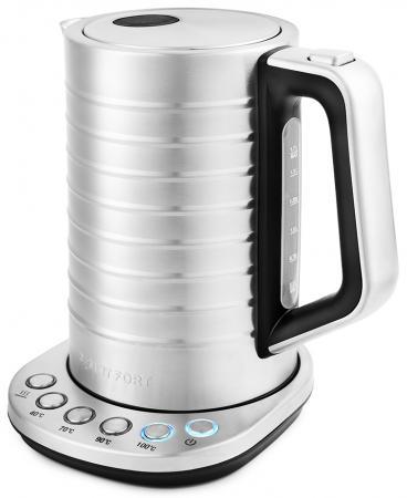 Чайник электрический KITFORT КТ-649 2200 Вт серебристый 1.7 л нержавеющая сталь чайник электрический element el kettle 2200 w