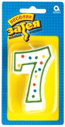 Праздничная свеча цифра 7 высотой 7,6 см веселая затея 1502 0135 свеча цифра 0 7 6 см a