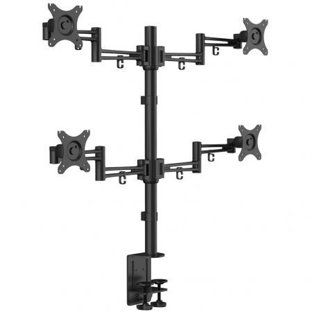 """Кронштейн для 4-х мониторов KRON/ 10-32"""" макс. 100*100, струбцина, наклон -85?+15? поворот 360? макс. нагрузка 10кг цена и фото"""