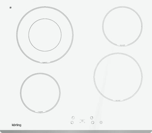 Встраиваемые электрические панели Korting/ Электрическая, 5х58x51 см, стеклокерамика, сенсорное управление, белая, рамка-скошенный край