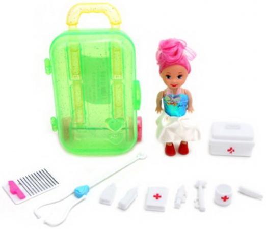 Кукла 7,5см в наборе с набором доктора 10 предм. и чемоданчиком, пакет цена и фото
