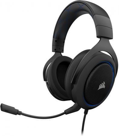 Игровая гарнитура проводная Corsair HS50 черный синий CA-9011172-EU игровая гарнитура проводная corsair gaming hs50 черный ca 9011170 eu