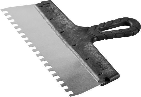 Шпатель ЗУБР МАСТЕР ФАСАДНЫЙ, нержавеющее полотно, 300мм, зуб 8х8мм шпатель фасадный зубр стандарт стальное полотно 300мм
