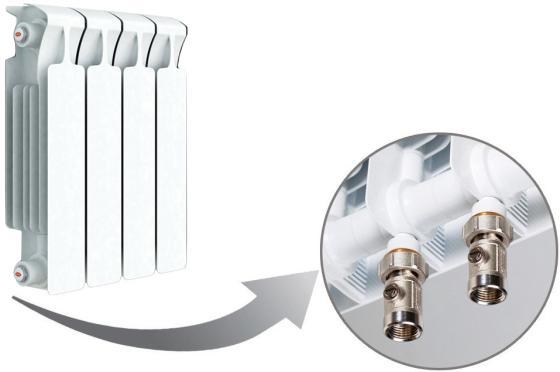 Радиатор RIFAR Monolit 350 х 4 сек НП лев (MVL) 50мм биметаллический радиатор rifar рифар b 500 нп 10 сек лев кол во секций 10 мощность вт 2040 подключение левое