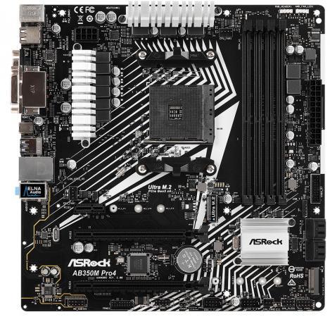 Материнская плата ASRock AB350M PRO4 R2.0 Socket AM4 AMD B350 4xDDR4 2xPCI-E 16x 1xPCI-E 1x 4 mATX Retail материнская плата asrock b450m pro4 f socket am4 amd b450 4xddr4 2xpci e 16x 1xpci e 1x 4 matx retail