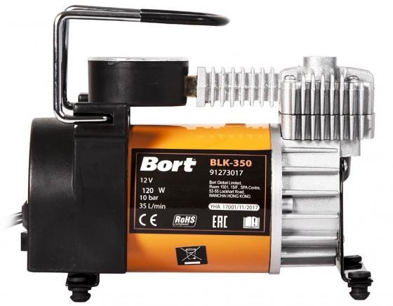 Bort BLK-350 Компрессор автомобильный [91273017] { 35 л/мин, 10 бар, 12 В, 120 Вт, 4000 об/мин, 1.4 кг, набор аксессуаров 6 шт }