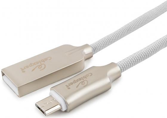 Фото - Кабель microUSB 1м Cablexpert CC-P-mUSB02W-1M круглый белый кабель microusb 1 8м cablexpert cc u musb01gd 1 8m круглый золото