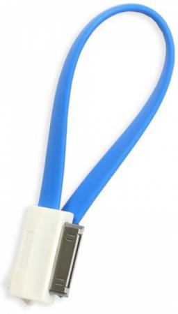 Кабель USB Apple 30-pin 0.2м Smart Buy iK-402m плоский голубой цена и фото