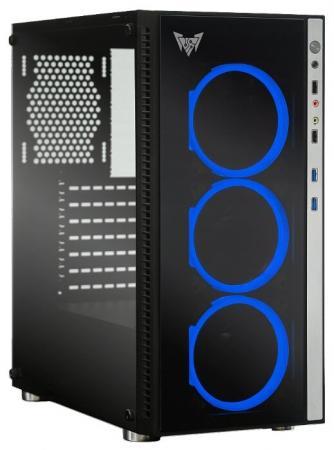 CROWN Корпус Micro CMC-GS10B (CM-PS600W PLUS) , Gaming, Midi Tower,Размеры (Ш*Г*В) 205*455*410мм; сталь 0,5мм SPCC,закалённое стекло 4мм(левая+фр