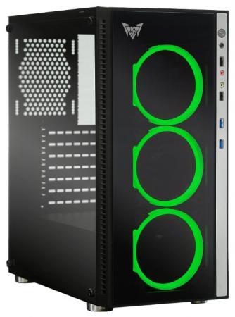 CROWN Корпус Micro CMC-GS10RGB (CM-PS600W PLUS) (Gaming, Midi Tower,Размеры (Ш*Г*В) 205*455*410мм; сталь 0,5мм SPCC,закалённое стекло 4мм(левая+фронтальная) ; Отсеки 3,5 в